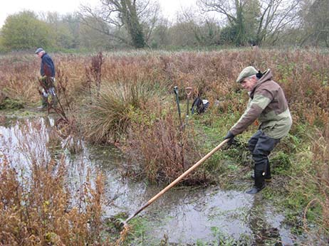 Clearing ponds at Barton Field