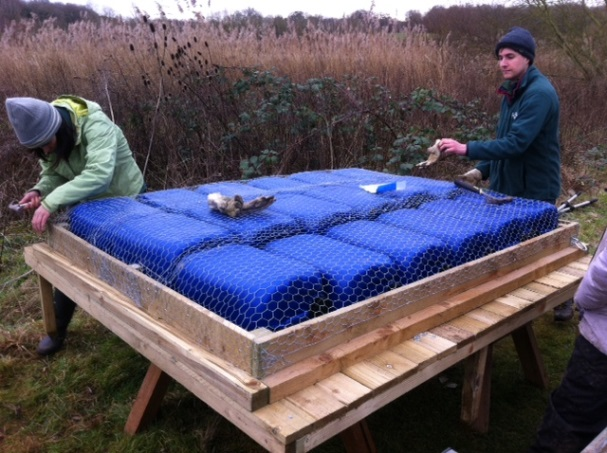 Volunteers building a Tern Raft in West Berkshire c Lucy Tomkinson